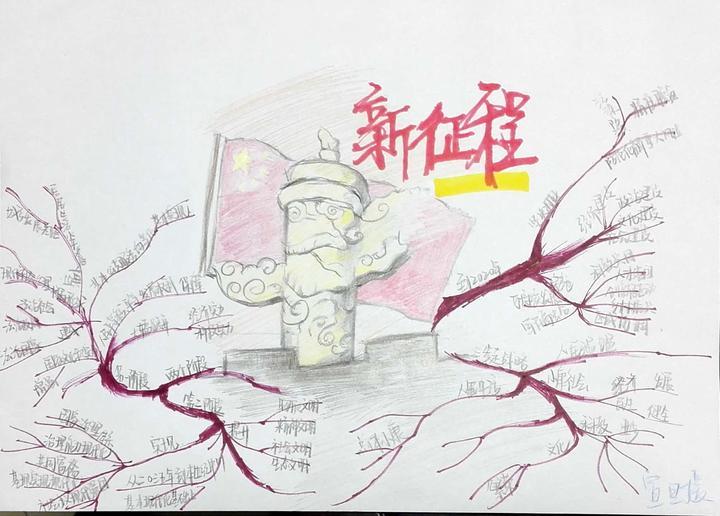 温大瓯江学院学生手绘思维导图学习十九大精神