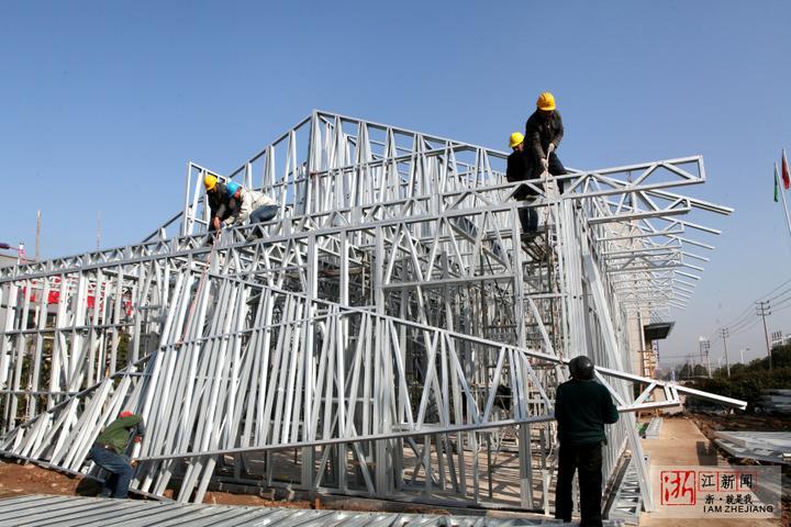新型建材拼装东阳花园村建房如搭图纸木工积木浮雕图片