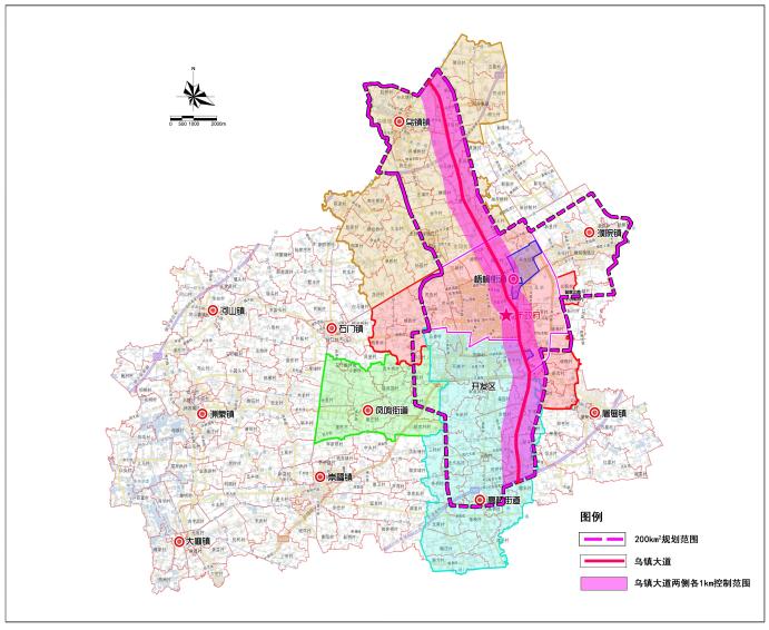乌镇大道科创集聚区总体规划范围图及控制区范围图