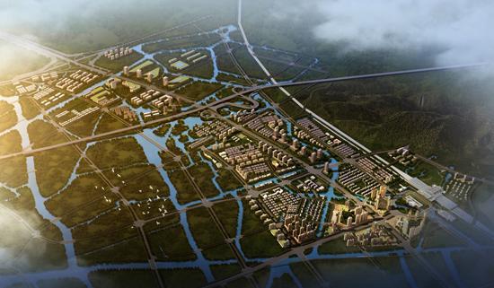 迎宾大道两侧城市设计鸟瞰图