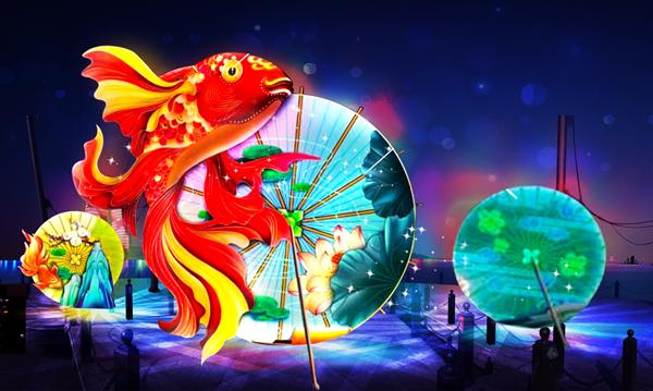 该灯组以油纸伞为创意,搭配时下最热元素锦鲤,旨在祈福新年风调雨顺图片