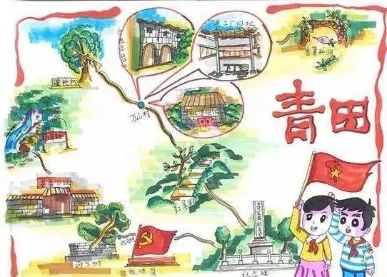 青田红色研学线路手绘地图