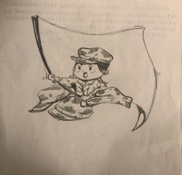 这幅画想表现的,是军人是最可爱的人.
