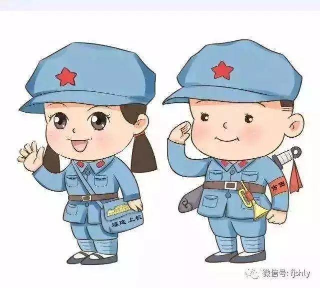 儿童红军绘画头像 红军长征图画手绘