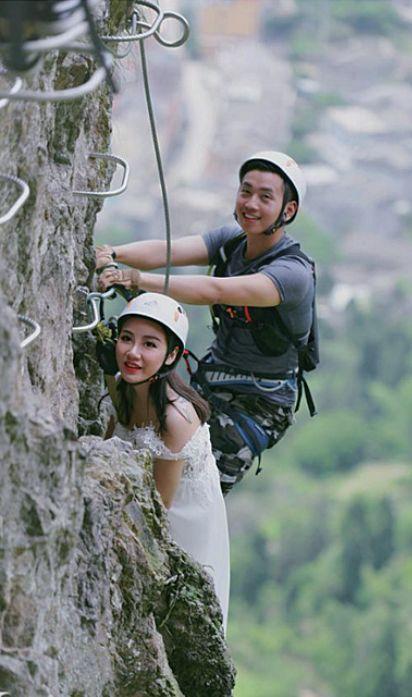 90后情侣跑温州300米悬崖拍婚纱照,挂半空6小时!