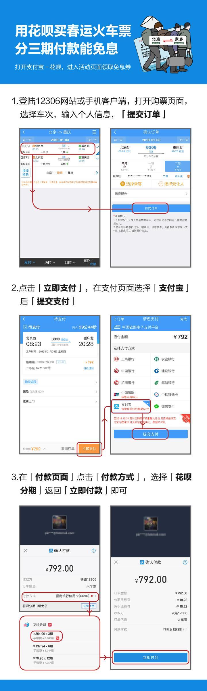 花呗火车票分期免息计划,帮助外来工减轻买票负担.jpg