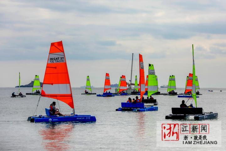 舟山:家庭帆船赛 竞逐朱家尖