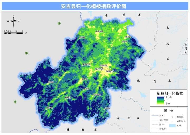 图 安吉县归一化植被指数评价图.jpg